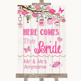 Pink Rustic Wood Here Comes Bride Aisle Sign Customised Wedding Sign