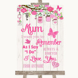 Pink Rustic Wood I Love You Message For Mum Customised Wedding Sign