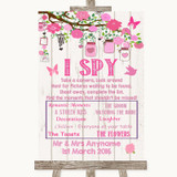Pink Rustic Wood I Spy Disposable Camera Customised Wedding Sign