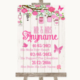 Pink Rustic Wood Important Special Dates Customised Wedding Sign