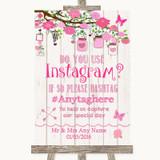 Pink Rustic Wood Instagram Photo Sharing Customised Wedding Sign