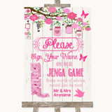 Pink Rustic Wood Jenga Guest Book Customised Wedding Sign