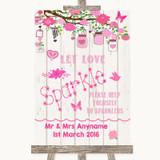 Pink Rustic Wood Let Love Sparkle Sparkler Send Off Customised Wedding Sign