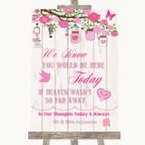 Pink Rustic Wood Loved Ones In Heaven Customised Wedding Sign