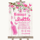 Pink Rustic Wood Message In A Bottle Customised Wedding Sign