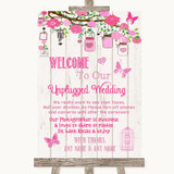 Pink Rustic Wood No Phone Camera Unplugged Customised Wedding Sign