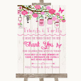 Pink Rustic Wood Photo Guestbook Friends & Family Customised Wedding Sign