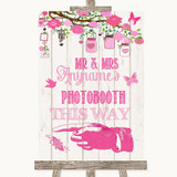 Pink Rustic Wood Photobooth This Way Left Customised Wedding Sign