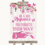 Pink Rustic Wood Photobooth This Way Right Customised Wedding Sign