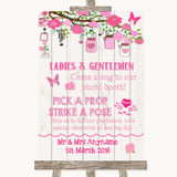 Pink Rustic Wood Pick A Prop Photobooth Customised Wedding Sign