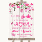 Pink Rustic Wood Plant Seeds Favours Customised Wedding Sign