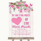 Pink Rustic Wood Puzzle Piece Guest Book Customised Wedding Sign