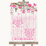 Pink Rustic Wood Romantic Vows Customised Wedding Sign