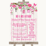Pink Rustic Wood Rules Of The Dance Floor Customised Wedding Sign