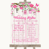 Pink Rustic Wood Rules Of The Wedding Customised Wedding Sign