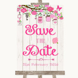 Pink Rustic Wood Save The Date Customised Wedding Sign