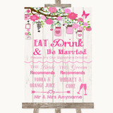 Pink Rustic Wood Signature Favourite Drinks Customised Wedding Sign