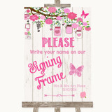 Pink Rustic Wood Signing Frame Guestbook Customised Wedding Sign