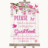 Pink Rustic Wood Take A Moment To Sign Our Guest Book Customised Wedding Sign