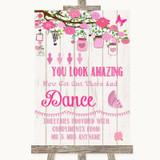 Pink Rustic Wood Toiletries Comfort Basket Customised Wedding Sign
