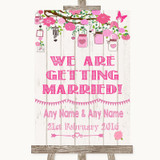 Pink Rustic Wood We Are Getting Married Customised Wedding Sign