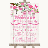 Pink Rustic Wood Welcome Order Of The Day Customised Wedding Sign