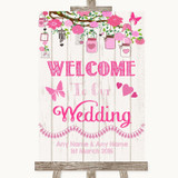 Pink Rustic Wood Welcome To Our Wedding Customised Wedding Sign
