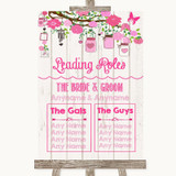 Pink Rustic Wood Who's Who Leading Roles Customised Wedding Sign