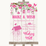 Pink Rustic Wood Wishing Well Message Customised Wedding Sign
