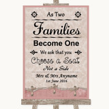 Pink Shabby Chic As Families Become One Seating Plan Customised Wedding Sign