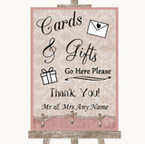 Pink Shabby Chic Cards & Gifts Table Customised Wedding Sign