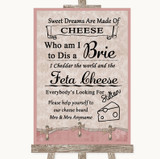 Pink Shabby Chic Cheese Board Song Customised Wedding Sign