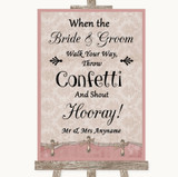 Pink Shabby Chic Confetti Customised Wedding Sign
