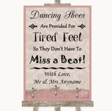 Pink Shabby Chic Dancing Shoes Flip-Flop Tired Feet Customised Wedding Sign