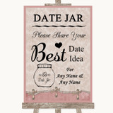 Pink Shabby Chic Date Jar Guestbook Customised Wedding Sign