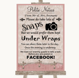 Pink Shabby Chic Don't Post Photos Facebook Customised Wedding Sign