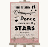 Pink Shabby Chic Drink Champagne Dance Stars Customised Wedding Sign