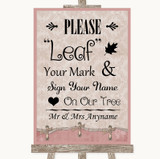 Pink Shabby Chic Fingerprint Tree Instructions Customised Wedding Sign