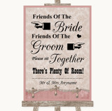 Pink Shabby Chic Friends Of The Bride Groom Seating Customised Wedding Sign