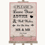 Pink Shabby Chic Guestbook Advice & Wishes Gay Customised Wedding Sign