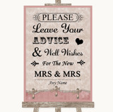 Pink Shabby Chic Guestbook Advice & Wishes Lesbian Customised Wedding Sign