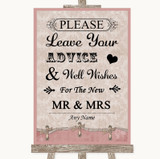 Pink Shabby Chic Guestbook Advice & Wishes Mr & Mrs Customised Wedding Sign
