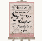 Pink Shabby Chic Hankies And Tissues Customised Wedding Sign