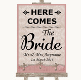 Pink Shabby Chic Here Comes Bride Aisle Sign Customised Wedding Sign