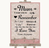 Pink Shabby Chic I Love You Message For Mum Customised Wedding Sign