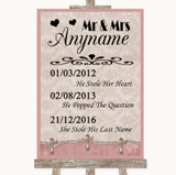Pink Shabby Chic Important Special Dates Customised Wedding Sign