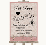 Pink Shabby Chic Let Love Sparkle Sparkler Send Off Customised Wedding Sign