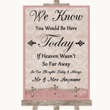 Pink Shabby Chic Loved Ones In Heaven Customised Wedding Sign