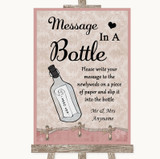 Pink Shabby Chic Message In A Bottle Customised Wedding Sign