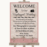 Pink Shabby Chic No Phone Camera Unplugged Customised Wedding Sign